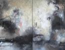 Komposition 10.060.1 - Mischtechnik auf Leinwand - Diptychon 2x80x140 80x140
